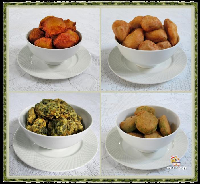 Bolinhos fritos de cenoura, de chuchu e de espinafre e abobrinha à milanesa