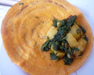 Quick Tomato Dosai with Spinach Potato Filling