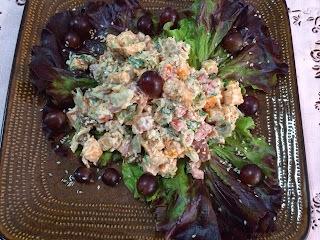 Almoço: salada de batata doce com bacalhau!