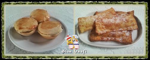 Empada e pastél de maçãs e de banana