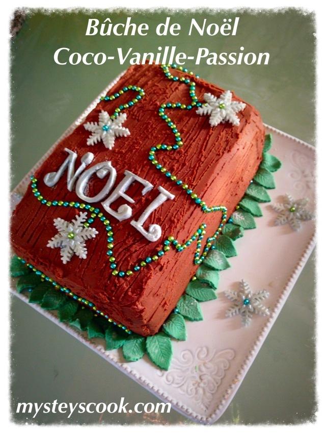 Bûche de Noël façon damier Coco-Vanille-Passion (et la recette d'une ganache passion chocolat au lait)