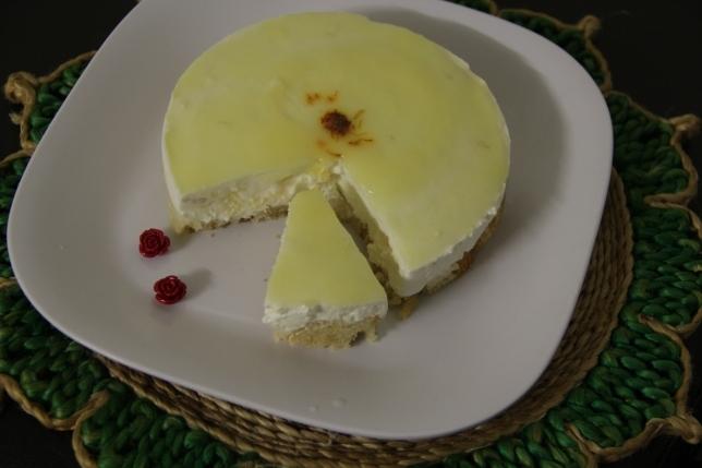 Eggless rasgulla cheesecake