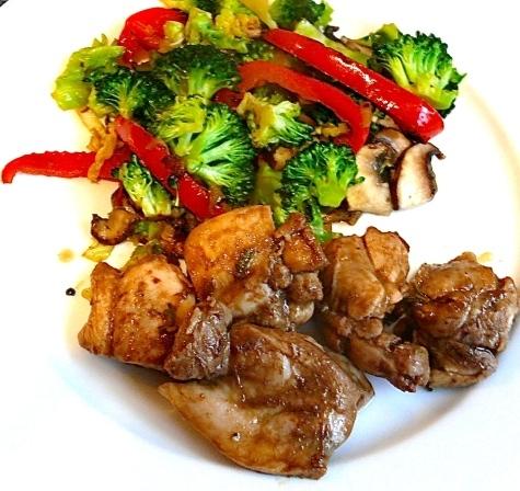 Balsamic & Rosemary Chicken with Stir Fried Ginger Vegetables