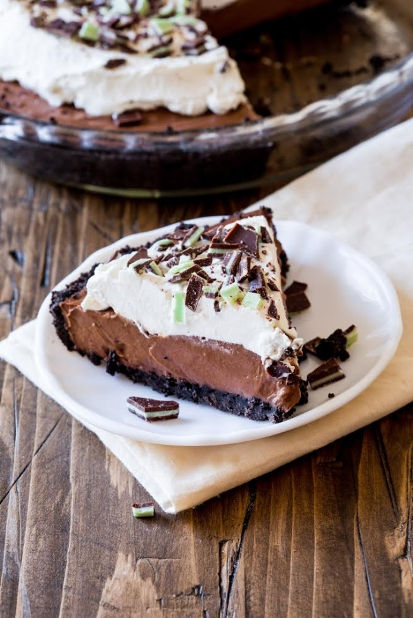 Mint Chocolate Cream Pie via Sally's Candy Addiction