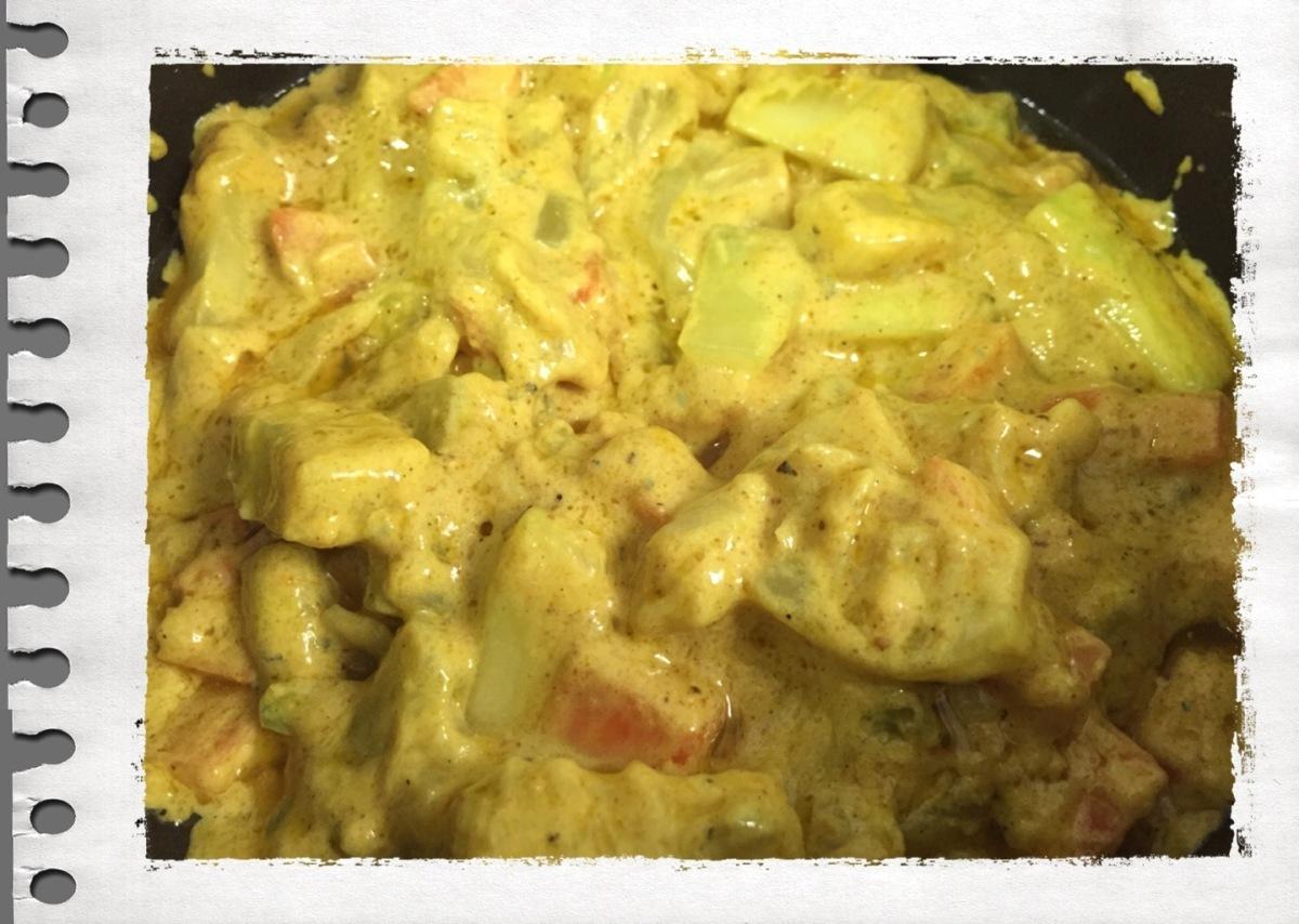 Abobrinha e cenoura com curry e gorgonzola