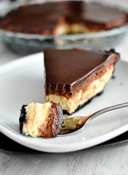 Τούρτα με cheesecake, μους & γκανάς σοκολάτας