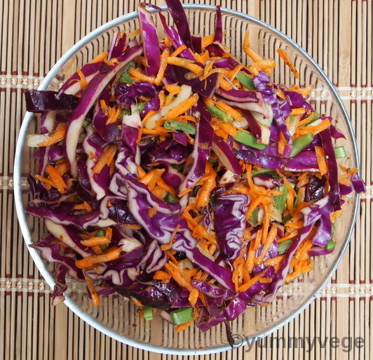 Red Cabbage Salad with Miso Dressing