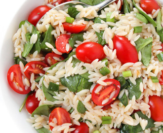 Orzo Salad with Spinach & Tomato