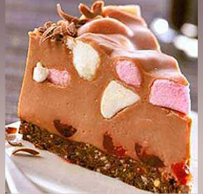 Fryst Rocky Road Cheesecake