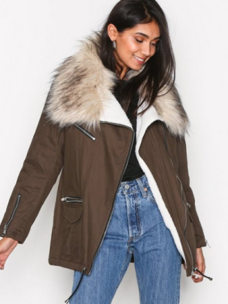 New Look Faux Fur Short Parka Parkasjackor Khaki