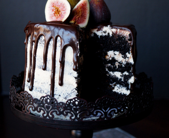 vegan fig dark chocolate layer cake