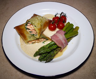Filo Wrapped Salmon and Spinach in a Creamed Miso Sauce with Chilli, Honey and Soy