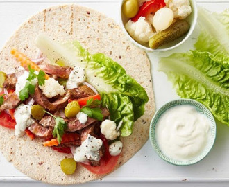 Turkish wraps with garlic sauce recipe