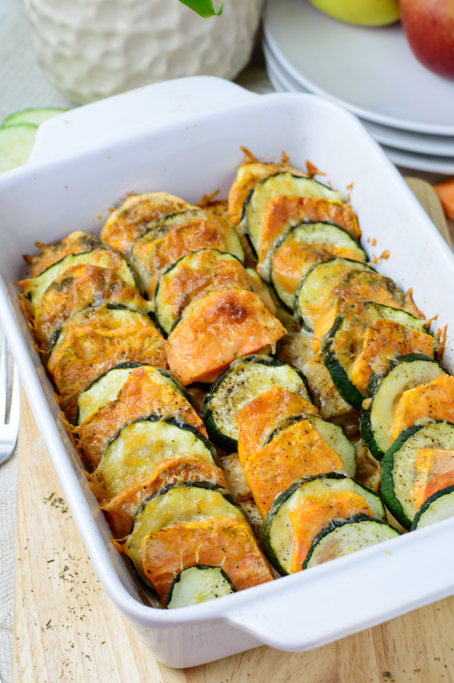 Sweet potato, zucchini and chicken breast casserole