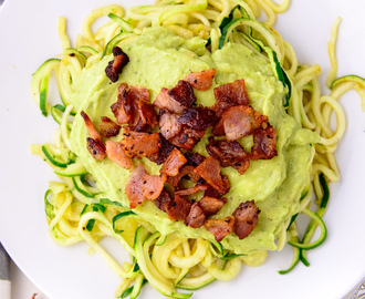 Creamy Avocado Zoodles with Bacon