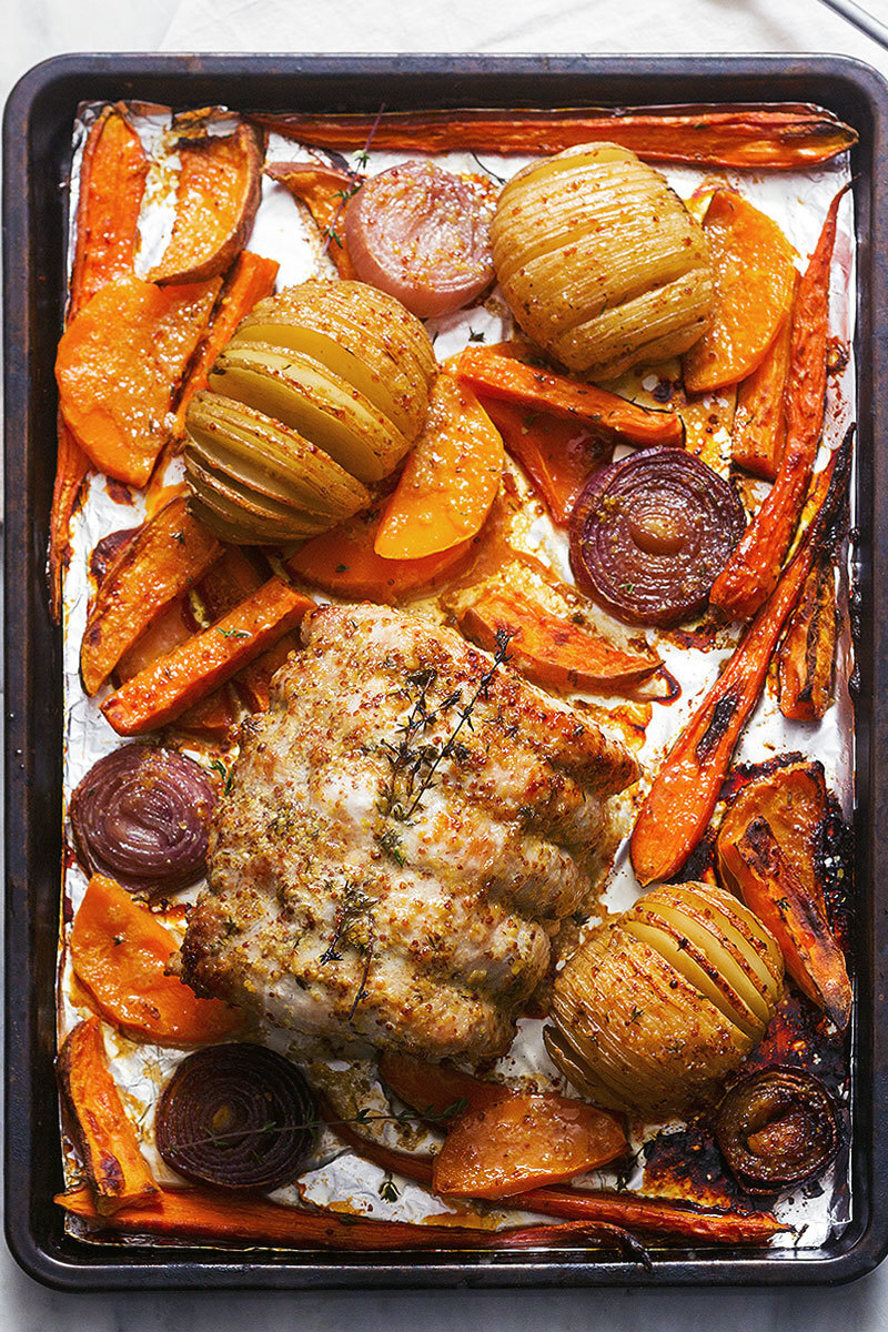 Honey Mustard Roasted Pork Loin and Veggie Sheet Pan Dinner