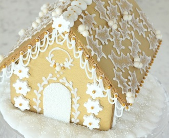 White and Gold Gingerbread House
