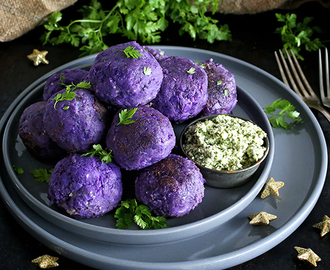 Cashew Cheese Stuffed Purple Potato Balls