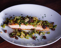 Grilled Salmon with Olives and Pine Nuts