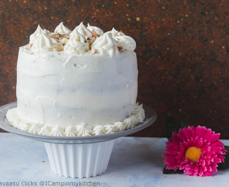 Eggless whole wheat carrot orange cake with orange blossom cream cheese frosting