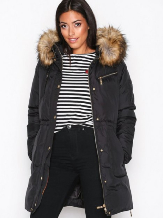 Hollies Les Arcs Fake Fur Dunjackor Black