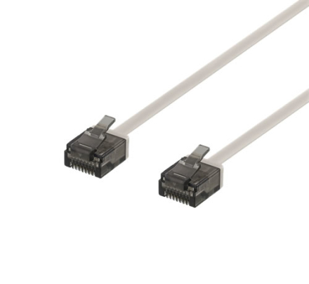 DELTACO U/UTP Cat6a patchkabel, flat, 1mm tjock, 2m, grå