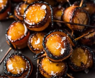 Bacon Scallop Lollipops with Honey Sriracha Glaze