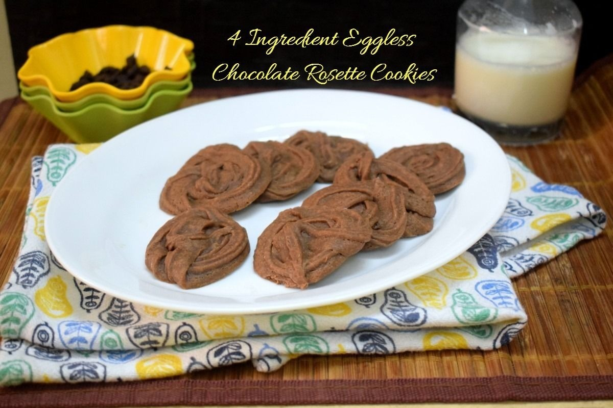 4 Ingredient Eggless Chocolate Rosette Cookies