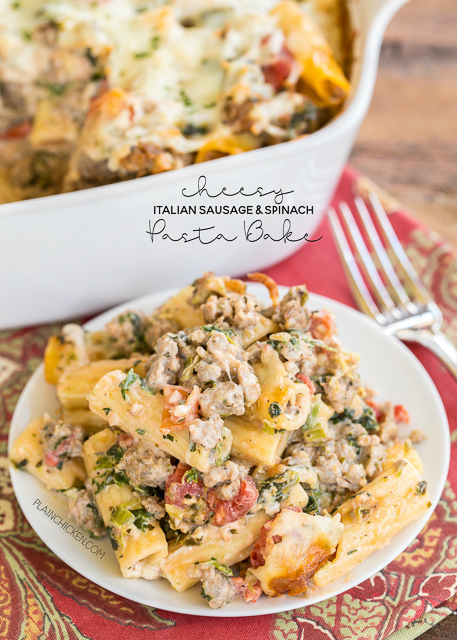 Cheesy Italian Sausage and Spinach Pasta Bake
