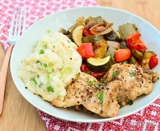 Black Pepper Chicken with Balsamic Roasted Vegetables