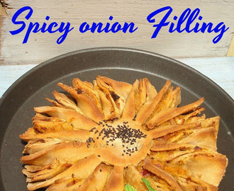 Flower Bread with Spicy Onion Filing #BreadBakers