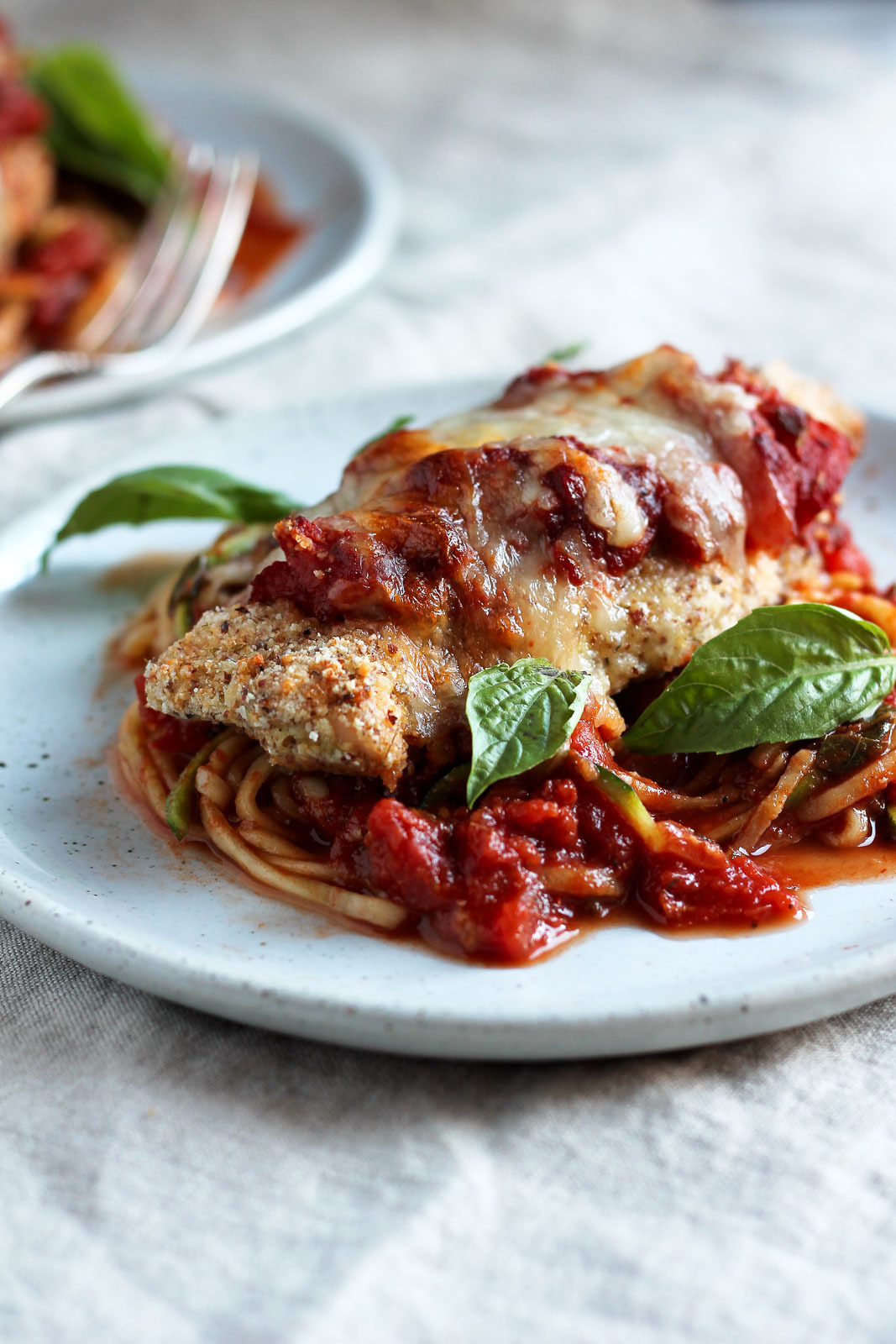 Healthy Baked Chicken Parmesan with Zucchini Noodles