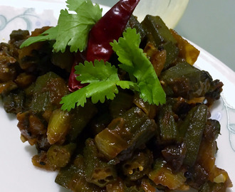 Achari Bhindi (Okra cooked with pickling spices)