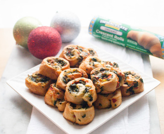 Holiday Pinwheels Appetizer with Kale and Roasted Red Pepper