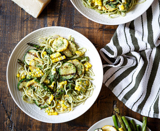 Summer Vegetable Pasta with Arugula Pesto