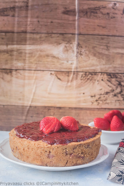 Eggless Whole Wheat Strawberry & White Chocolate cake