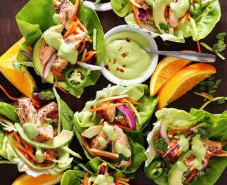 Grilled Salmon & Butter Lettuce Taco Wraps with Avocado Sauce