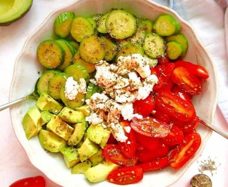 Balsamic Tomato, Cucumber, and Avocado Salad { Paleo option, GF}