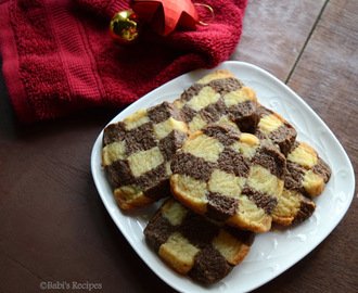 Eggless Checker Board Cookies | Step by Step Pictures