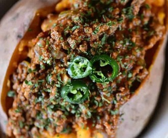 Chili Stuffed Sweet Potatoes Recipe