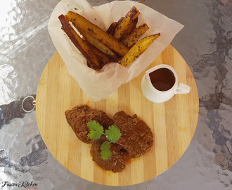 Saucy Fillet Steak With Sweet Potato Fries Recipe