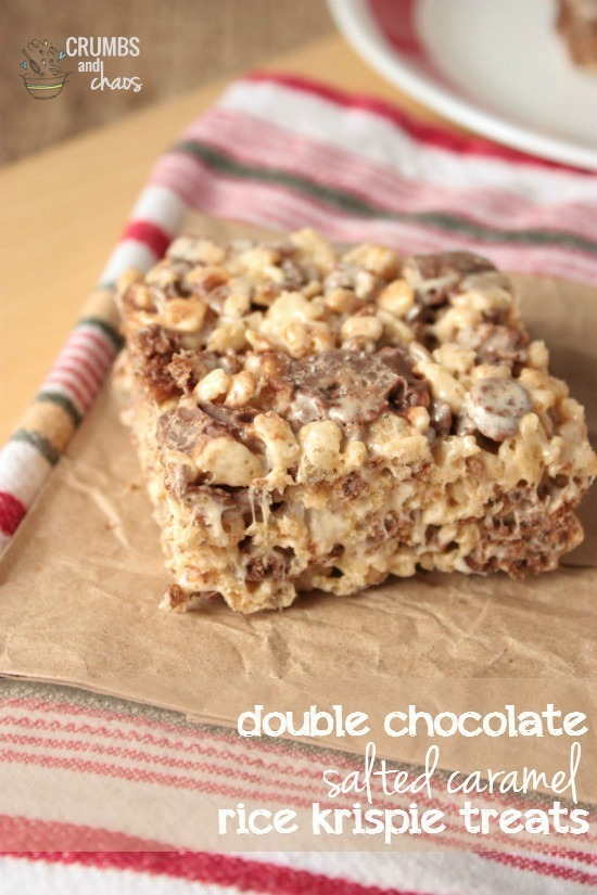 Double Chocolate Salted Caramel Rice Krispie Treats