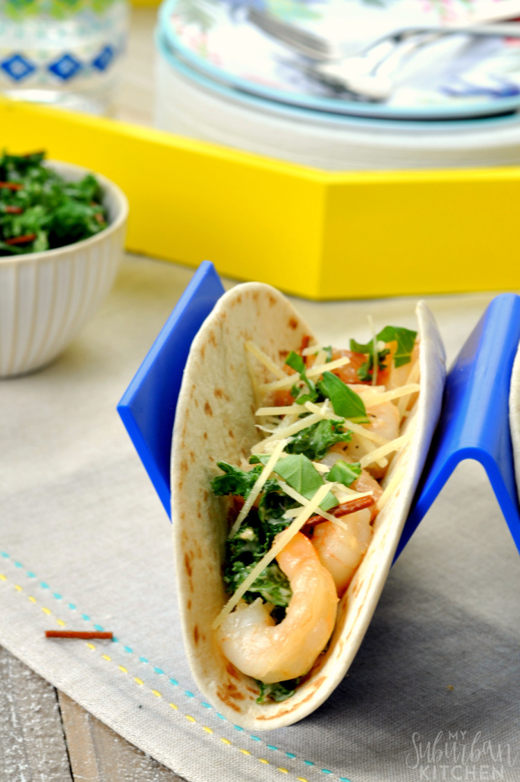 Shrimp Scampi Tacos with Kale Slaw