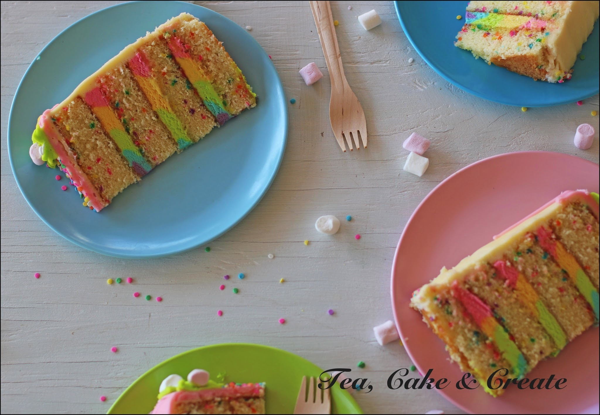 Funfetti Cake with Rainbow Buttercream