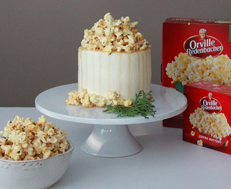 Earl Grey Cake with Cream Cheese Frosting and Salted Caramel Popcorn