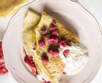 Sweet crepes with raspberry chia jam