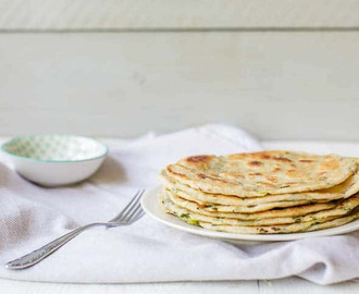 Homemade Chinese scallion pancakes