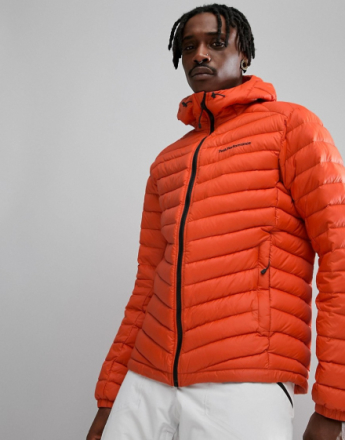 Peak Performance Frost Down Hooded Jacket In Orange - Orange