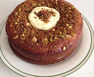Mawa Cake  With Pistachios, Rose and Saffron Cream