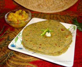 Oats Broccoli Paratha - Healthy Paratha Recipes / Easy Indian Bread Recipes
